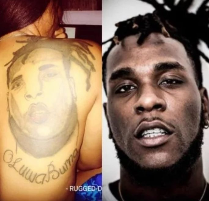 Nigerian Lady, Rugged Diva Tattos Burna Boy's Face On Her Back