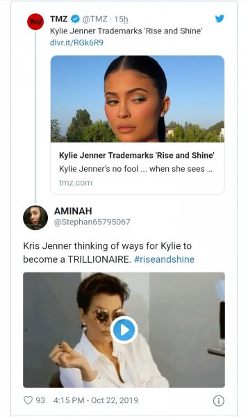 """Twitter Users Shades Kylie Jenner As She Filed to Trademark """"Rise and Shine"""""""