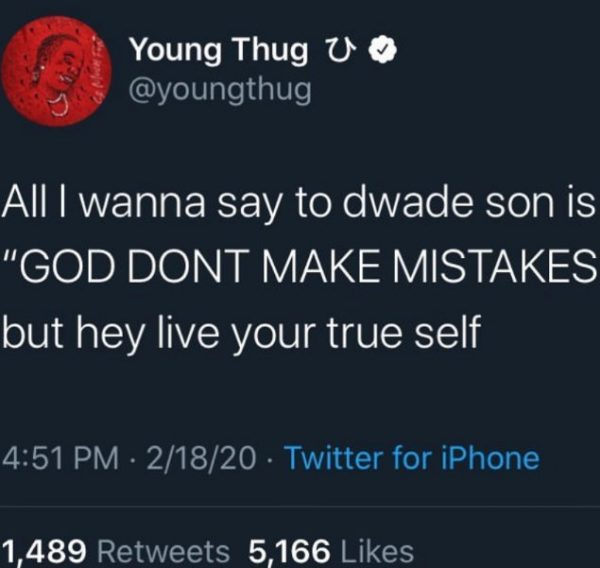 Young Thug Receives Backlash For His Comment On Dwyane Wade's Child Transgender
