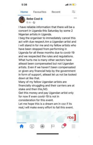 Ugandan artiste, Bebe Cool vows to 'FAIL' Omah Lay and Tems concert in Uganda
