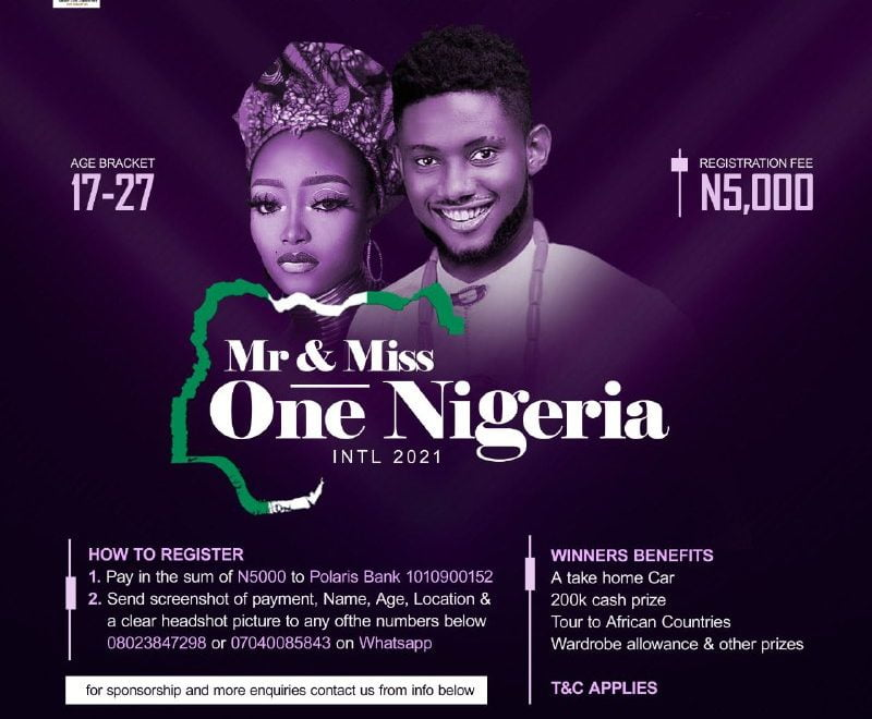 Register For Mr. And Miss One Nigeria International 2021
